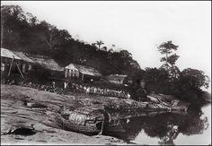 """Pulling a boat on land"".  Rio Madeira, Bolivia/Brazil. 1908 - 1911. Photographer: Dr. Bauler, Switzerland."