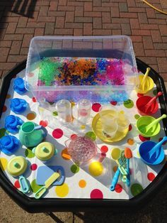 Learning and Exploring Through Play: 44 Tuff Spot Play Ideas Eyfs Activities, Nursery Activities, Infant Activities, Activities For Kids, Indoor Activities, Activity Ideas, Maths Eyfs, Activity Bags, Numeracy