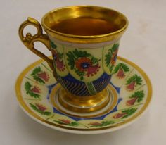 Rare  Old Paris Porcelain Cup & Saucer