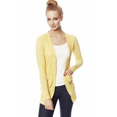 V-neck Long Cardi with Pockets Yellow