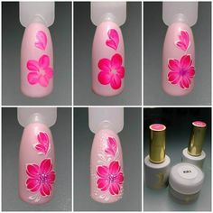Heat Up Your Life with Some Stunning Summer Nail Art Rose Nail Art, Rose Nails, Flower Nail Art, Nail Art Diy, Nail Art Designs, Flower Nail Designs, Nail Polish Designs, Nails Design, Pretty Nails