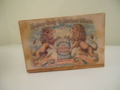 "Antique Washburn,Crosby Co.'s Coarse Bran wood storage box,6"" x 3"",Vintage storage,display box two lions on side of box both sides,Minnesota by TrueVintageandMade on Etsy"