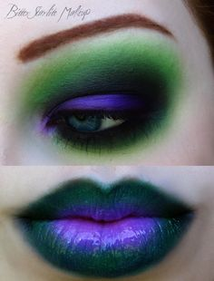 Halloween Make-up. – wäre toll für Ivy Más - Halloween Make-up Looks Halloween, Halloween Costumes, Witch Costumes, Purple Halloween, Halloween Stuff, Halloween Halloween, Female Joker Halloween, Female Joker Makeup, Female Joker Cosplay