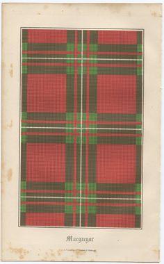 1849 Antique Print Scotland Tartan clan MacGregor colored lithograph Scottish Scotch genealogy. $27.00, via Etsy.