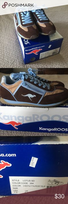 Kangaroo tennis shoes Worn less than 5 times.  Super cute.  Comes with spare set of brown laces.  These will not ship in box. Kangaroos Shoes Sneakers