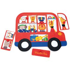 Bus Puzzle: Baby's wooden jigsaw, rectangular base with pieces to fit in using illustrations from the range in primary colours: red bus and lion, monkey, elephant and panther characters. Wooden Jigsaw, Wooden Puzzles, Wooden Toys, Shape Puzzles, Forest Theme, French Fabric, Red Bus, Retail Store Design, Baby Kind
