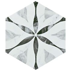 Merola Tile Classico Bardiglio Hexagon Flower 7 in. x 8 in. Porcelain Floor and Wall Tile (11 sq. ft. / case)