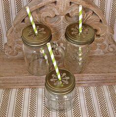 Mason Jar Tall Tumblers and Antique Gold Daisy Cut Mason Jar Lids - 12 Quilted Mason Jelly Jars - 12  Lids...JJB-12. $36.00, via Etsy.