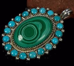Vintage-Dead-Pawn-Navajo-Turquoise-amp-Malachite-Sterling-Pendant-by-Hoskie-Yazzie
