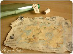 Invitation fête anniversaire thème pirate (carte au trésor dans une bouteille) Invitation Fete, Birthday Invitations, Pirate Birthday, Fiesta Party, Blue Christmas, Trees To Plant, Party Themes, Vintage World Maps, Lily
