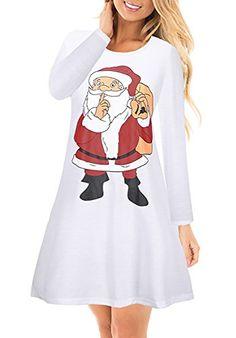 a7f3148a801 Farktop Womens Ugly Christmas Santa Print Long Sleeve Flared A Line Party  Mini Dress