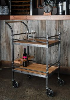 Rustic Industrial Bar Cart by IronMountainForge on Etsy