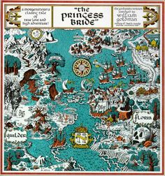 The Princess Bride Map of Florin and Guilder by William Goldman Fantasy Map, Fantasy Books, Fantasy Romance, Fantasy Fiction, Robert Louis Stevenson, Batman Comics, Dark Souls, The Princess Bride Book, Princess Bride Tattoo