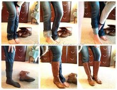How to tuck non-skinny jeans into boots.