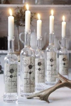 Beautiful Wine Bottle Candle Holders