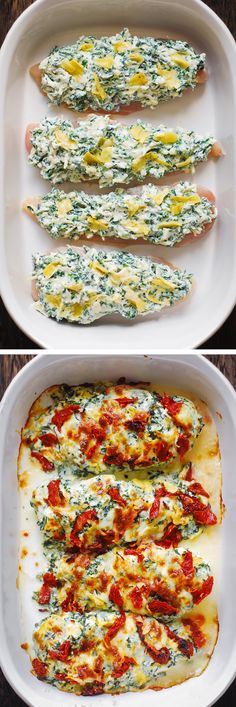 Chicken Bake with Sun-Dried Tomatoes, Spinach, Artichoke dip #chickenbake #spinach #artichokes