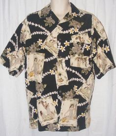 $15.99 + Free Shipping.   Vintage Silk Black Khaki Floral Short Sleeve Hawaiian Camp Shirt L Large