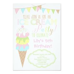 Shop Ice Cream Party Invitation created by Pixabelle. Personalize it with photos & text or purchase as is! Ice Cream Theme, Ice Cream Party, Birthday Party Invitations, Birthday Cards, Birthday Ideas, Anniversaire Candy Land, Ice Cream Invitation, Girl First Birthday, 5th Birthday