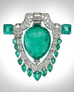 Gems on Display:  Marjory Merriweather Post's 1920s diamond and emerald brooch.