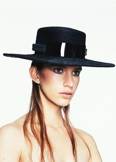 Mohair Straight Brim | Label: Keely Hunter Millinery | Autumn/Winter 2014, Thermal Bridge Collection | Bridging her signature style with winter textures, Hunter mixes clean design with structural knits and fabrics to create a collection defined by its strong sense of warmth and protection