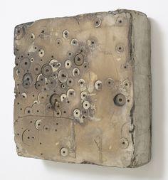 Hiroyuki Hamada ... #7, 1996, 16 x 16 x 4.75 inches, burlap, enamel, plaster, tar, wax & wood