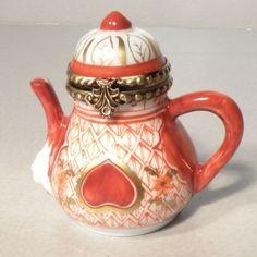 New Orange Tea Pot No 141 Porcelain Limoges Box