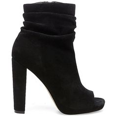 Steve Madden Women's Ellison Booties (1,595 MXN) ❤ liked on Polyvore featuring shoes, boots, ankle booties, black suede, black bootie, short black boots, steve madden booties, high heel booties and suede ankle boots