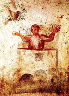 Noah praying in the Ark, from a Roman catacomb - underground Christianity and the rise of symbols, withdrawal from realistic