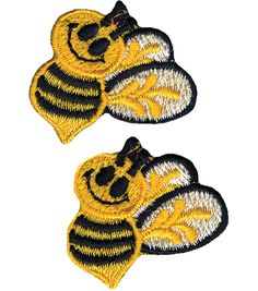 "Wrights Iron-On Appliques-Bumble Bees 1""X1-1/2"" 2/PkgWrights Iron-On Appliques-Bumble Bees 1""X1-1/2"" 2/Pkg,"