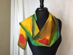 Rosie Series 8 x 54 Crepe de Chine 12mm Hand Painted silk scarf