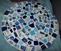 Blues Mosaic Stepping Stone by FluffyPuppiesMosaics, via Flickr