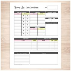 Nanny Log - Daily Infant Care Sheet - Pink & Yellow - Printable