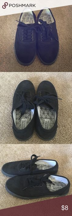 *Donating 1/6* Black Keds Like Tennis Shoes Mossimo Supply Co. brand (NOT Keds) black laced tennis shoes. Worn at the most a month while waitressing, they have just been in my closet forever, a little dusty otherwise no flaws. Mossimo Supply Co Shoes Sneakers