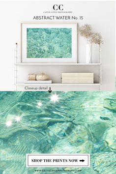 Seafoam green abstract water art print. Look closer and you'll find all kinds of pretty shapes and stained glass-like patterns