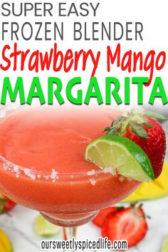 This easy strawberry mango margarita recipe is the perfect cocktail recipe for a hot summer day. Blend yourself up an easy 6 ingredient cocktail recipe! Blended Margarita Recipe, Margarita Recipes, Margarita Tequila, Strawberry Margarita, Homemade Margaritas, Frozen Margaritas, Frozen Cocktails, Drinks Alcohol Recipes, Fruit Recipes