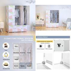 Tespo Portable Clothes Closet Wardrobe DIY Modular Storage Organizer Sturdy 12