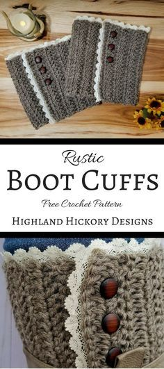 Crochet these rustic boot cuffs with this free pattern. This design is perfect for just about any kind of boot. This easy pattern uses the herringbone double crochet stitch and then the lace and bu… Crochet Boot Cuff Pattern, Easy Crochet Patterns, Sewing Patterns Free, Crochet Stitches, Free Crochet, Free Pattern, Crochet Lace, Hat Patterns, Crochet Ideas