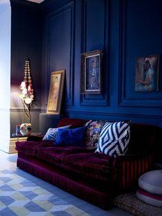 Blue walls and Burgundy velvet sofa #decor
