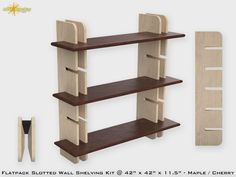 """Flat Pack Slotted Modern Wall Bookshelf Kit. This Modern Bookshelf is extremely strong which makes this product well suited for commercial or retain environments. Each side consists of a pair of slotted standards spaced 2.5"""" inches apart which greatly reducing the unit racking and voiding the need for a structural back. There is a board between the pair sides with pre-drilled holes to secure to a wall. This unit can be mounted on the wall or can be free standing on the floor. Notsucky.com"""
