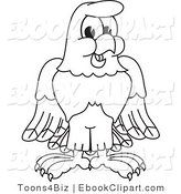 Vector Clip Art of a Black and White Bald Eagle Hawk or Falcon Smiling Outline by Toons4Biz