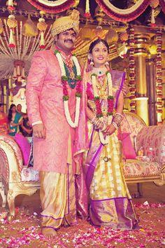 Dazzling Bride Pranathi Reddy in and Gold and Purple Silk Saree with Magenta Blouse Groom Outfit, Groom Dress, Groom Wear, Bride Groom, Marriage Stills, Saree Wedding, Bridal Sarees, Wedding Sherwani, Telugu Wedding