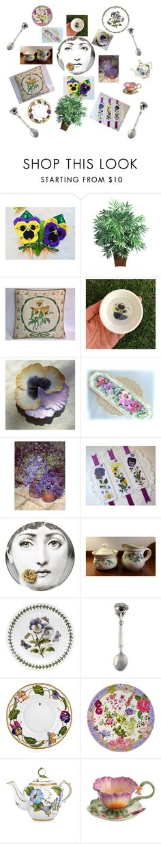"""""""Pansy Perfect!"""" by vsabrew ❤ liked on Polyvore featuring interior, interiors, interior design, home, home decor, interior decorating, Nearly Natural, Fornasetti, Pfaltzgraff and Portmeirion"""