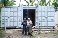 On Earthcube's second project in Rarotonga, the container doors were left in place over the glass doors to secure the home for Hurricanes.  See the whole story at... http://earthcube.co.nz/