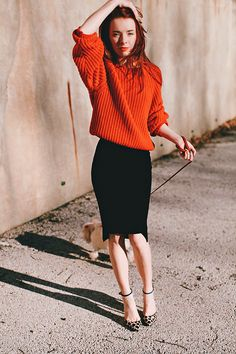 Wearing an H&M skirt (similar here and here), red sweater, and the shoes I designed for Schutz.
