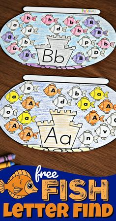 FREE Fish Letter Find - super cute, free printable , interactive alphabet worksheet for preschool and kindergarten age kids to help them work on letter recognition by identifying upper and lowercase letter fishes רעיון למשחק זיהוי אותיות Alphabet Crafts, Alphabet Worksheets, Letter A Crafts, Alphabet Games, Handwriting Worksheets, Handwriting Practice, Alphabet Letters, Preschool Literacy, Preschool Letters