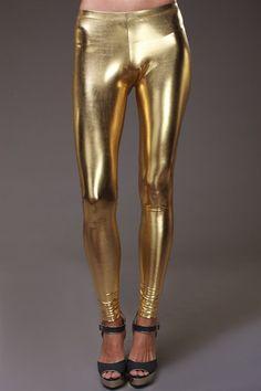 Foil Metallic Rave Gold Leggings