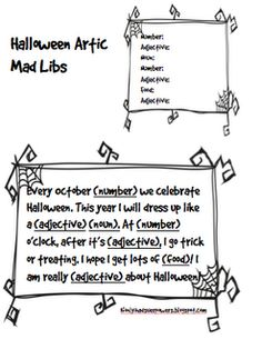 Halloween Mad Libs, Free Printable for Articulation and Language