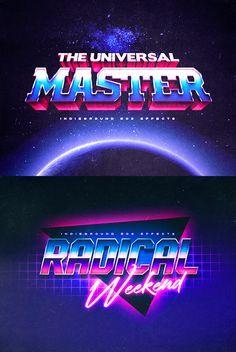 Vintage Text Effects - Indieground Design 80s Design, Text Design, Logo Design, Logos Vintage, Logos Retro, Retro Vintage, 80s Logo, Neon Logo, Logos Color