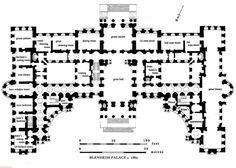 Blenheim Palace First Floor plan c. Before Consuelo Vanderbilt married the Duke of Marlborough. Castle Floor Plan, House Floor Plans, Historical Architecture, Architecture Plan, Classical Architecture, English Architecture, Georgian Architecture, Minecraft Architecture, Hall Flooring