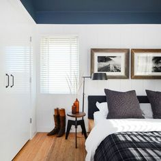 Love this paint idea - something to consider for the office, with a framed section of chalkboard paint on the wall behind the door, then substantial desk furniture? The white on the walls will make the room larger, the color will be still dramatic.